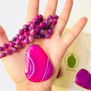 Fuchsia Pink Agate Mala Bead Necklace, Large Stone